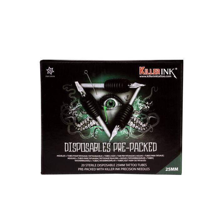 Caixa Sortida de 20 Tubos Diamante Grip / Ponta 25 mm Descartáveis Killer Ink Pré-embalados com Agulhas Bug Pin de 0,35 mm