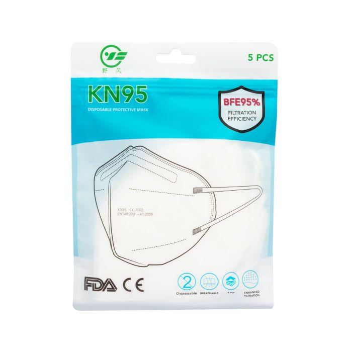 Embalagem de 5 Máscaras Cirúrgicas KN95