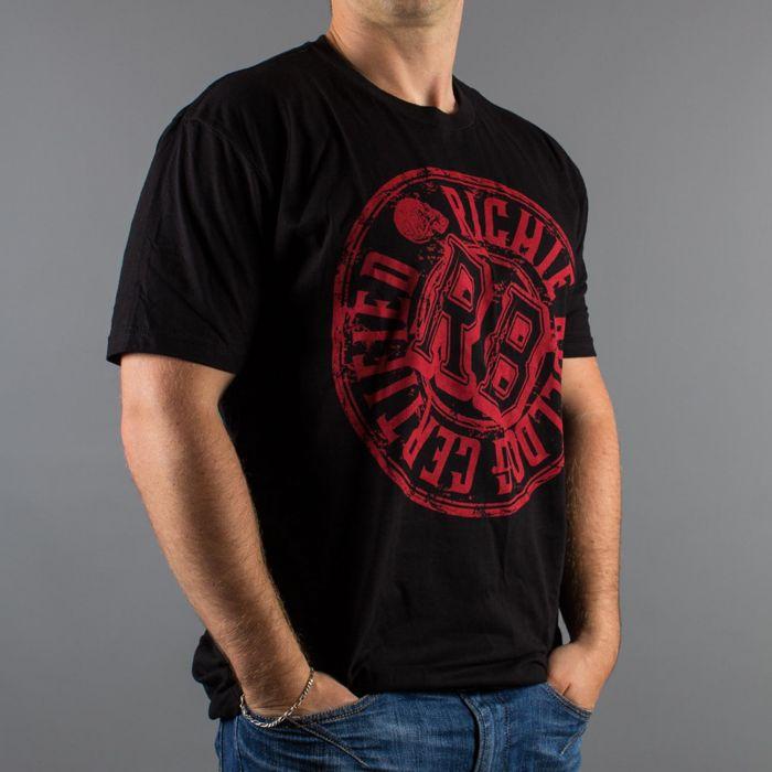 T-Shirt Richie Bulldog Certified Luxury Hustle Wear em Preto/Vermelho